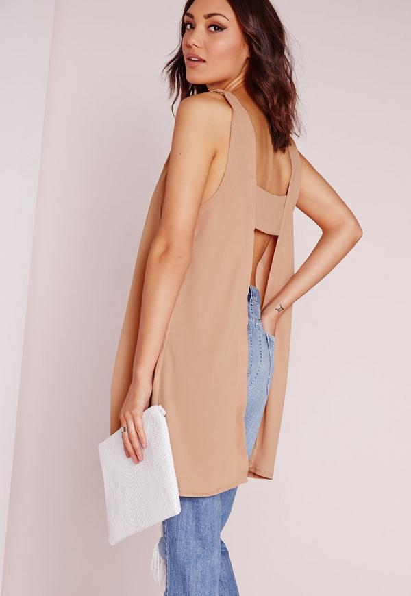 Plunge Neck Tab Back Cami Top Nude