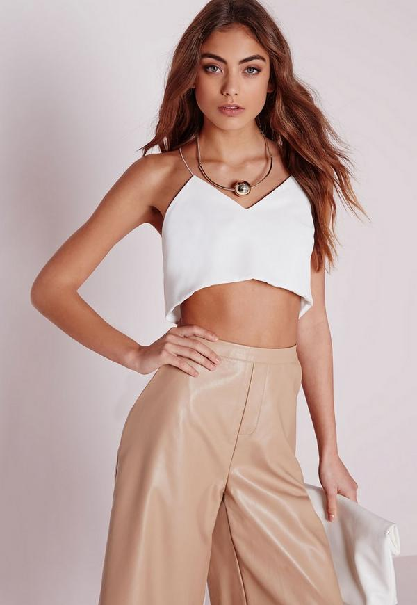 Wrap Back Cropped Cami White