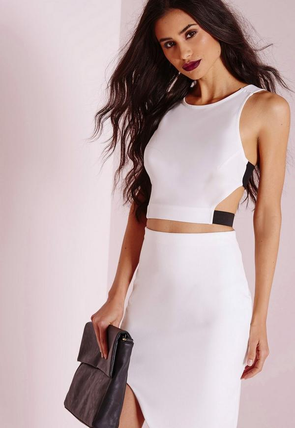 Contrast Strap Crop Top White