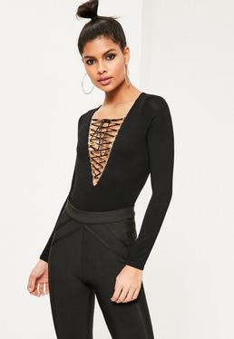 Lace Up Long Sleeve Bodysuit Black