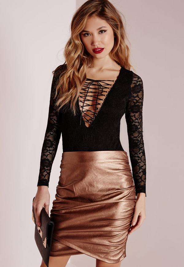 Lace Lattice Front Bodyuit Black