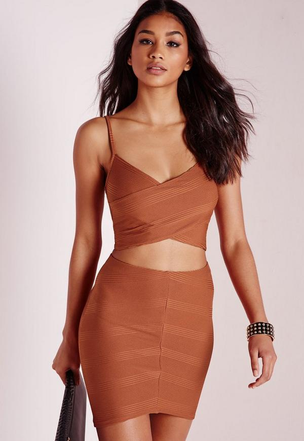 Wrap Front Mini Rib Crop Rust
