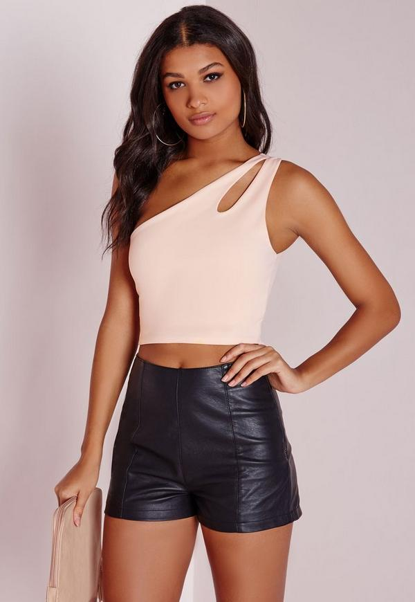 Cut Out One Shoulder Crop Top Nude