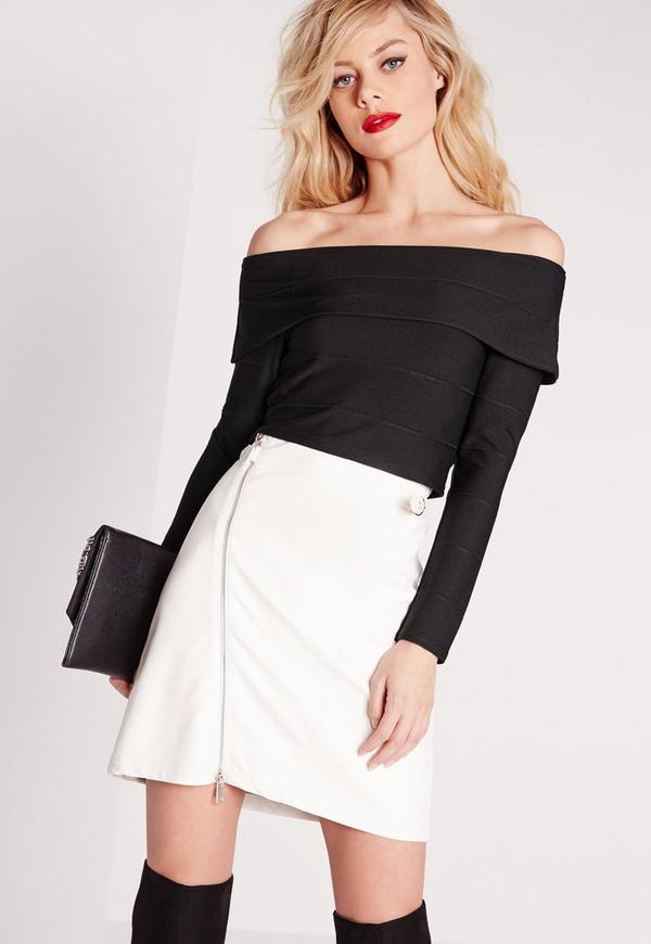 Bardot Bandage Crop Top Black