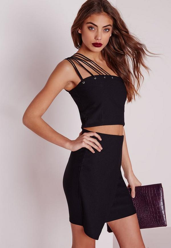 Multi One Shoulder Strap Crop Top Black
