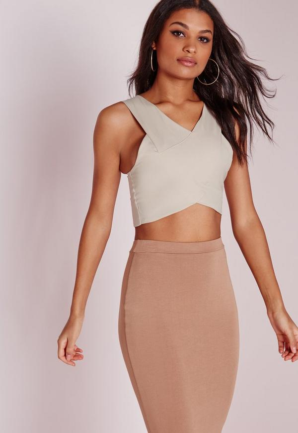 Wrap Over Neck Bralet Taupe