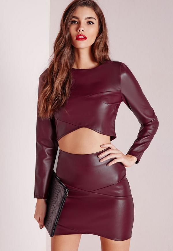 Wrap Over Faux Leather Crop Top Burgundy