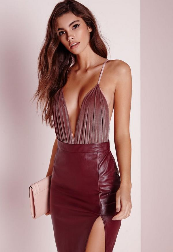 Velvet Plunge Bodysuit Pink