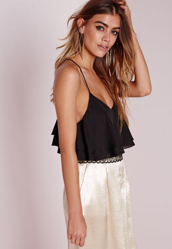 Lace Back Double Layer Cami Black
