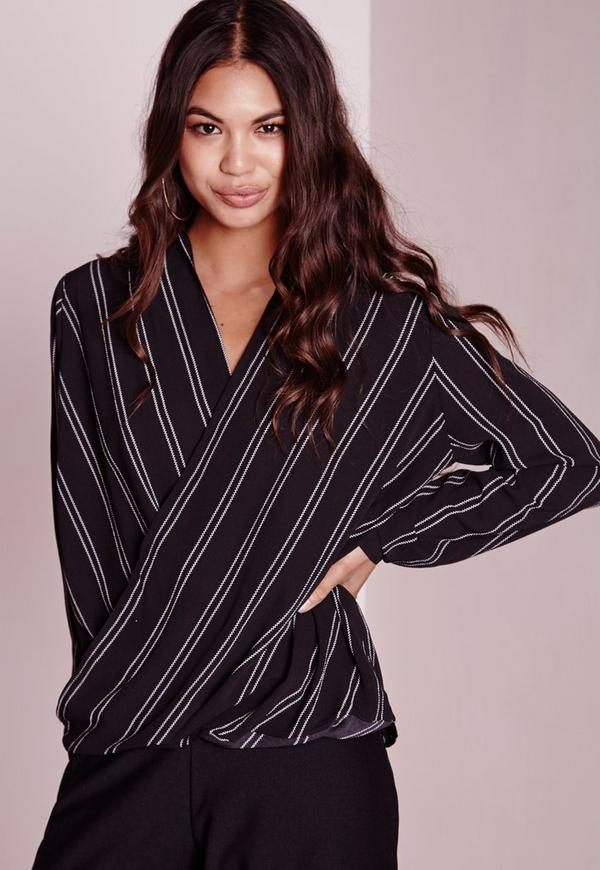 Monochrome Wrap Blouse Black