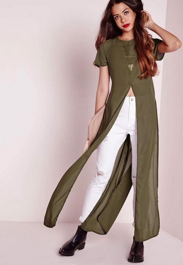 Sleeve Split Blouse Khaki