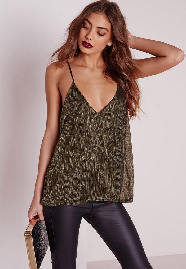 Metallic Strap Back Cami Top Gold