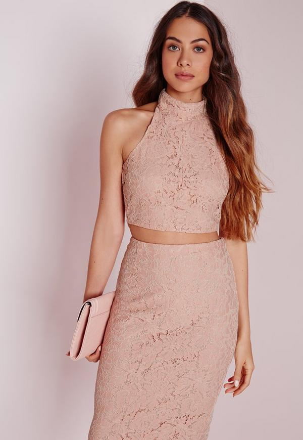 Choker Lace Halter Top Pink