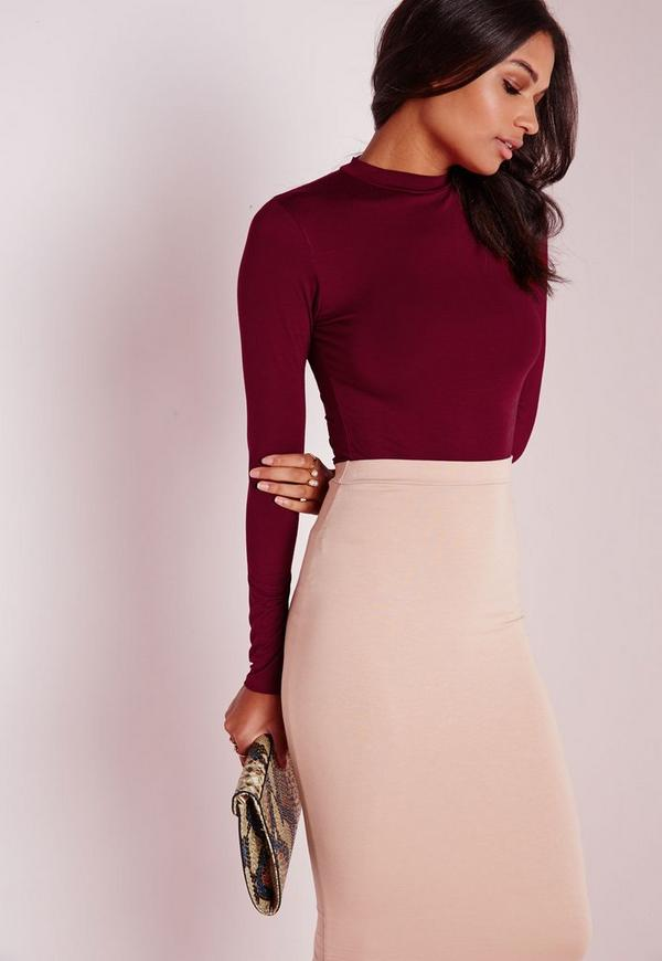 Long Sleeve Turtle Neck Top Burgundy