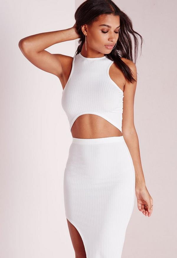 Round Neck Crop Top White