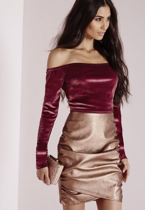 Velvet Bardot Crop Top Pink
