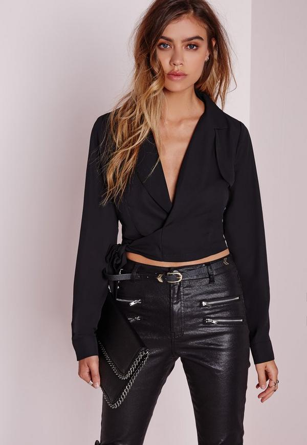 Wrap Front Blouse Black