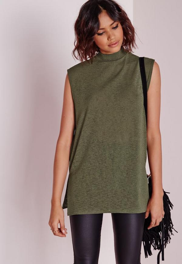 High Neck Longline Vest Khaki