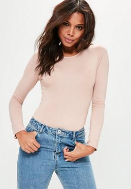 Jersey Long Sleeve Bodysuit Nude
