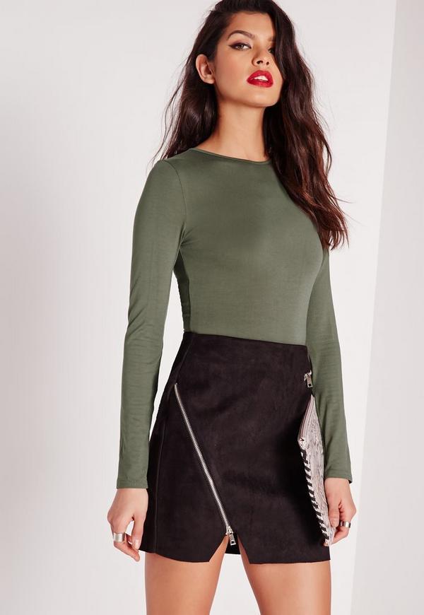 Jersey Long Sleeve Bodysuit Khaki