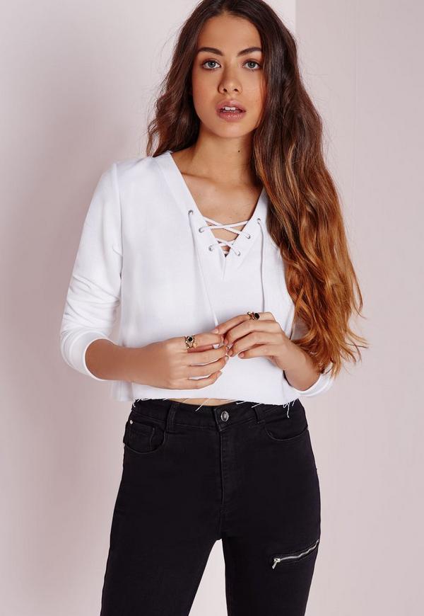 Lace Up Sweatshirt White