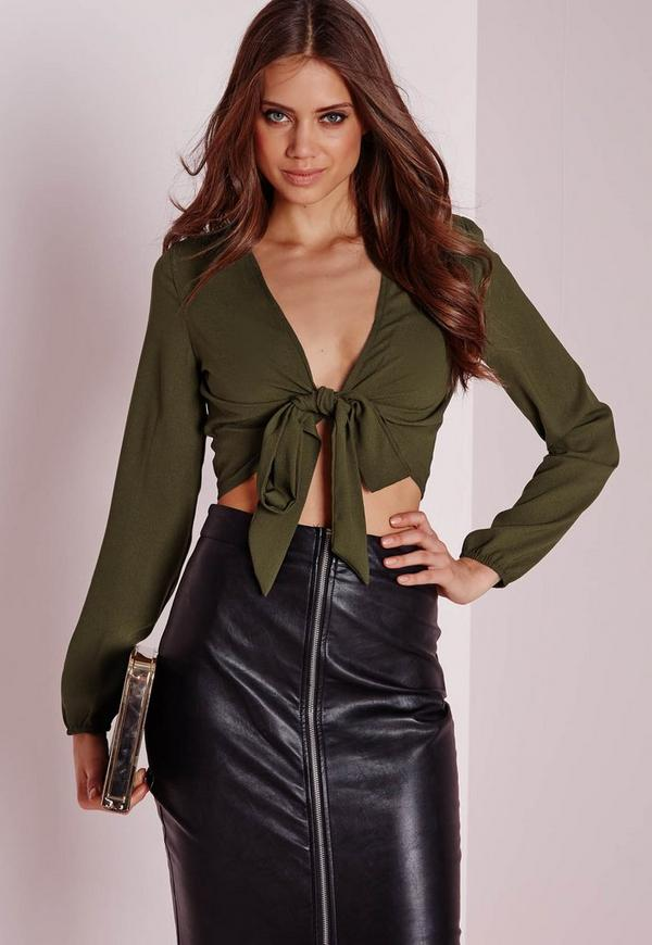 Tie Front Cropped Blouse Khaki