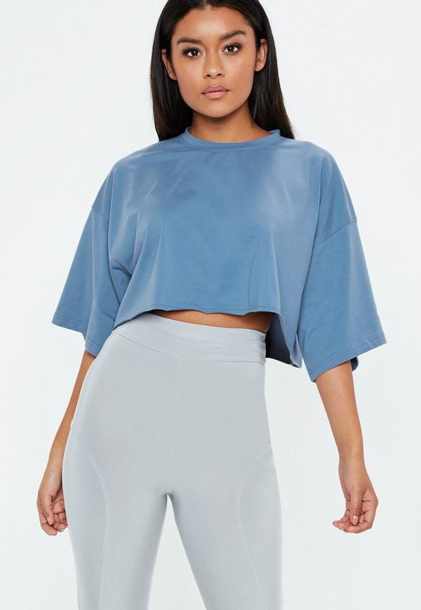 Blue Drop Shoulder Oversized Cropped T Shirt by Missguided