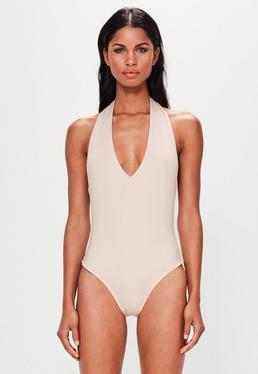 Peace + Love Premium Body con cuello halter en nude
