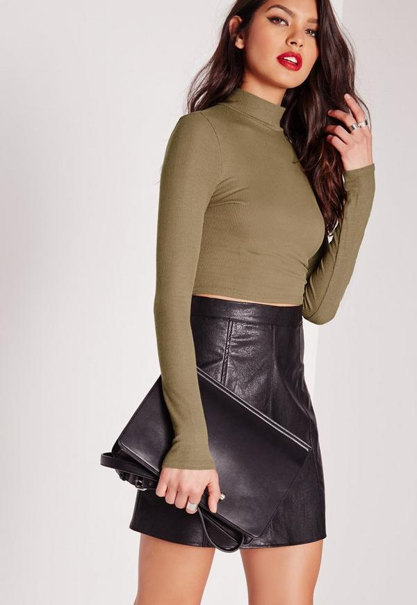 High Neck Ribbed Crop Top Khaki