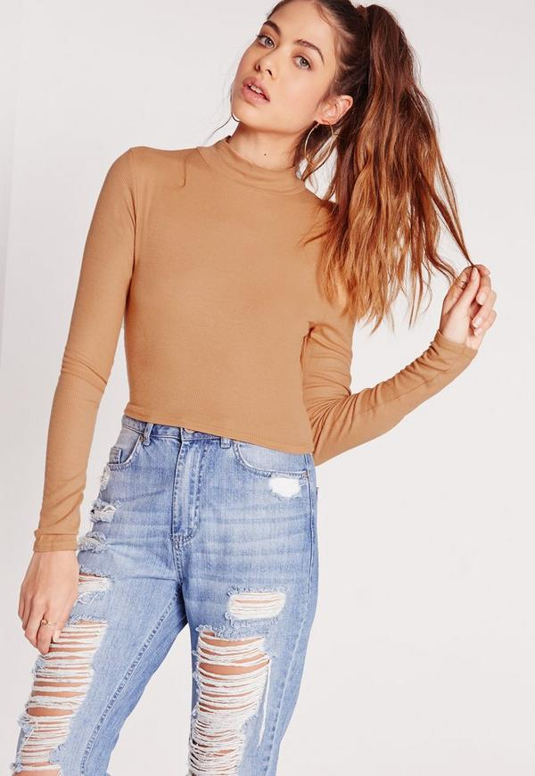 High Neck Ribbed Crop Top Camel