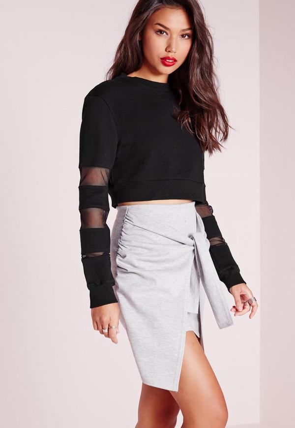 Sheer Stripe Sleeved Sweatshirt Black