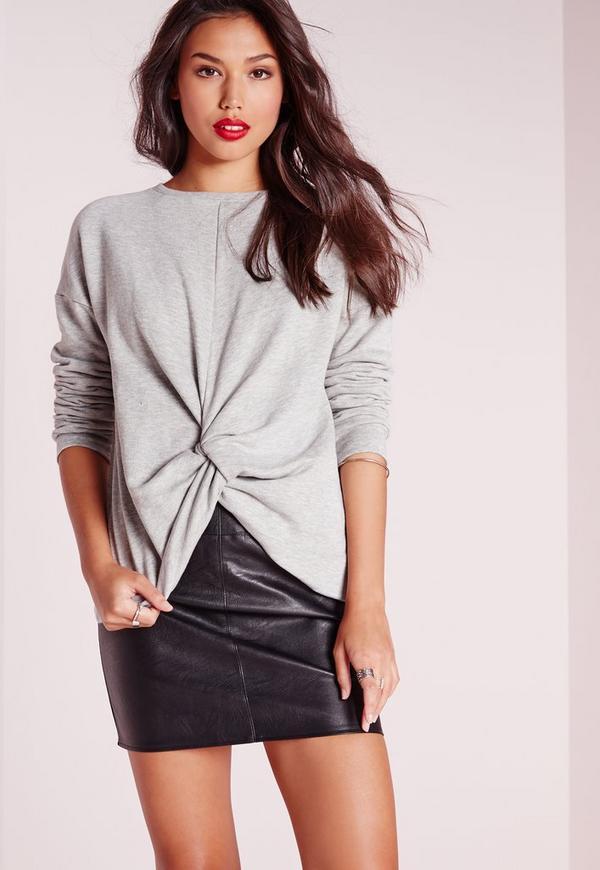 Knot Front Sweatshirt Grey
