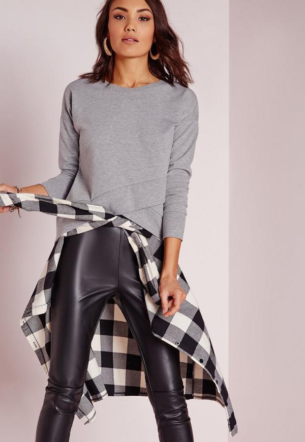 Wrap Front Sweatshirt Grey