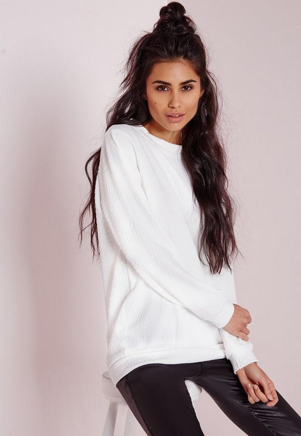 Texture Longline Sweatshirt White