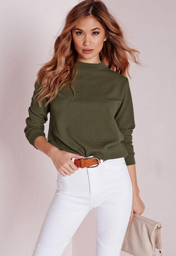 Textured Longline Sweatshirt Khaki