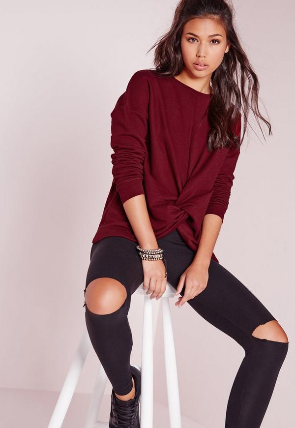 Knot Front Sweatshirt Burgundy