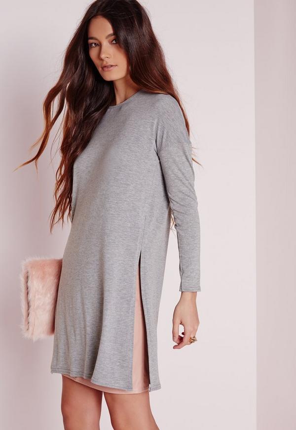 Long Sleeve Split Side Longline Top grey