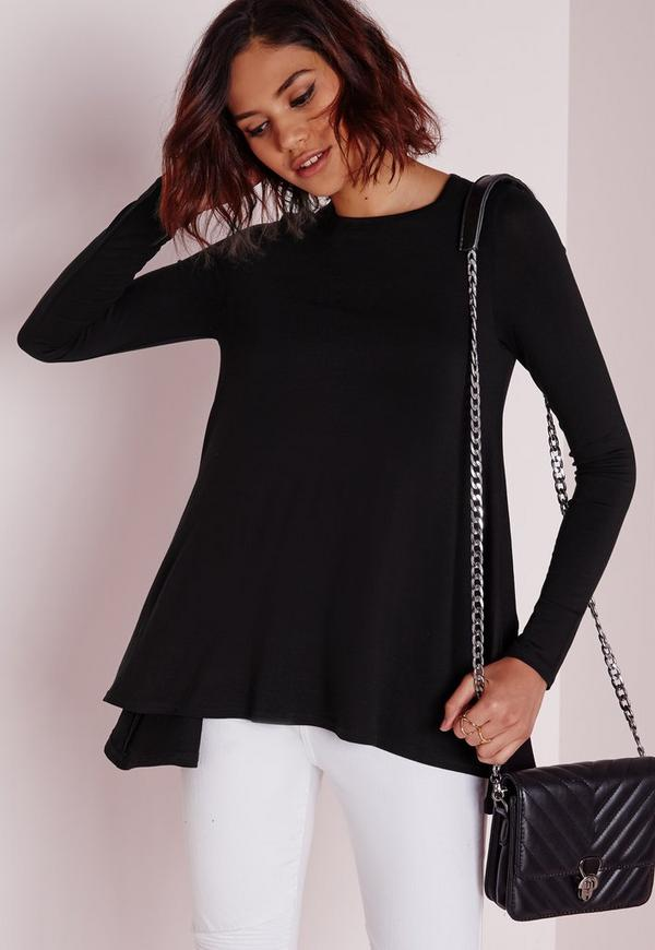 Long Sleeve Swing Top Black
