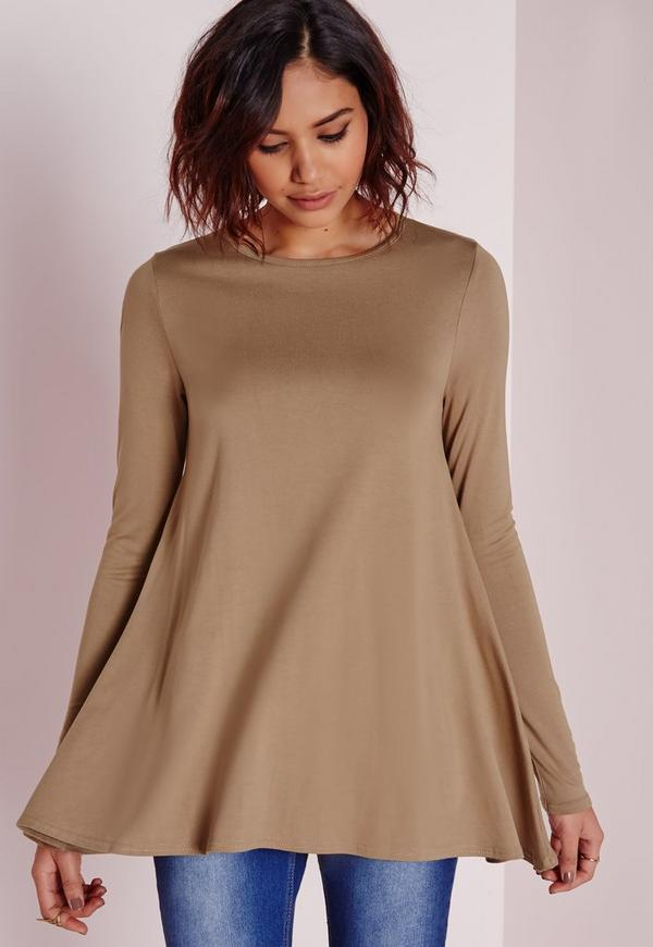 Long Sleeve Swing Top Camel