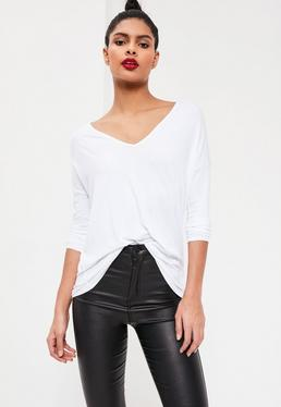 Long Sleeve Boyfriend V-Neck T-shirt White
