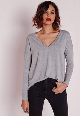 Long Sleeve Boyfriend V-Neck T-shirt Grey Marl