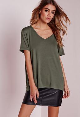 T-shirt boyfriend vert kaki à col en V