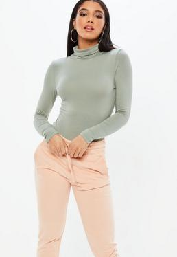 Long Sleeve Turtle Neck Bodysuit Khaki