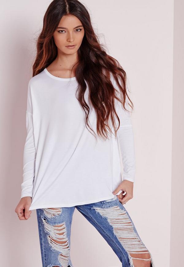 Oversized Raglan Sleeve Tunic White