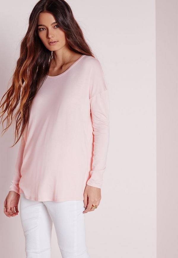 Oversized Raglan Sleeve Tunic Pink