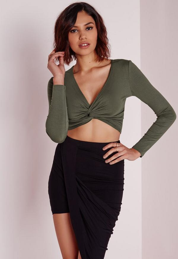 Twist Front Detail Crop Top Khaki