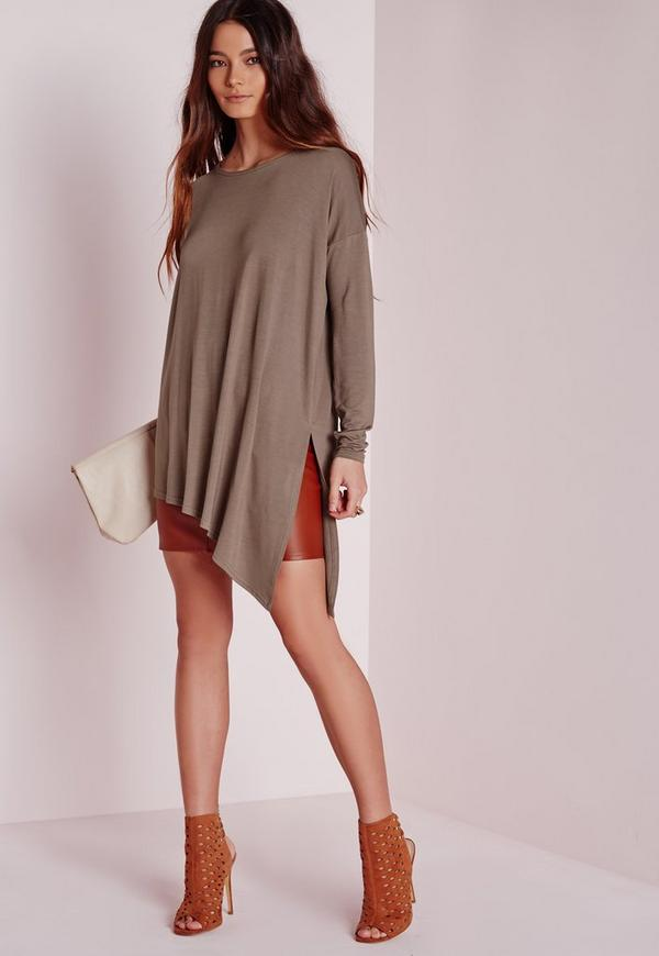 Oversized Asymmetric Longline Top Taupe