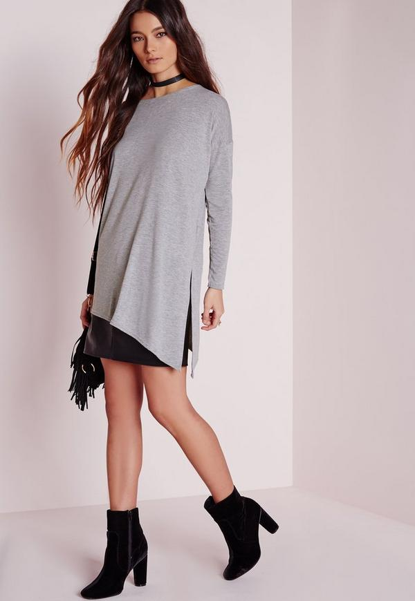 Oversized Asymmetric Longline Top Grey