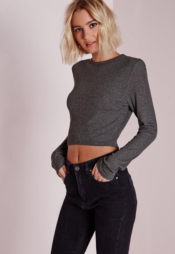 Ribbed Long Sleeve Crop Top Grey Marl