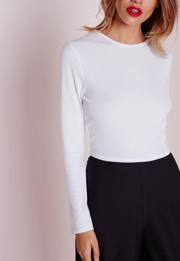 Ribbed Long Sleeve Crop Top White | Missguided